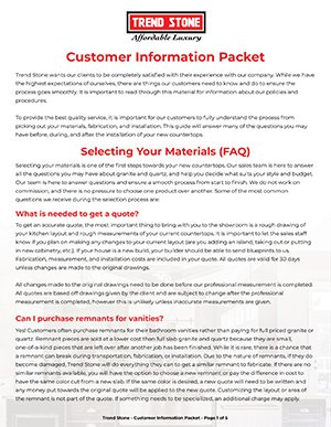 Customer Info Packet